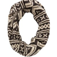 Knit Geo Infinity Scarf by Charlotte Russe - Black Combo