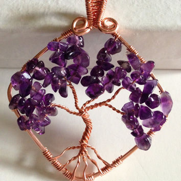 Copper Pendant,tree of life,wire wrapped pendant,amethyst pendant,purple pendant,silverbymaggie,gifts for her,boho necklace,spiritual jewelr