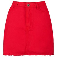 Red Denim Mini Skirt | Boohoo