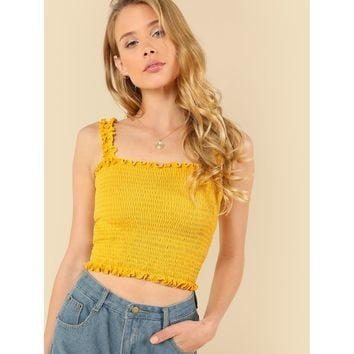 Ruffle Trim Shirred Crop Top