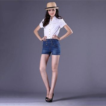 HMCHIME women plus size S-4XL cotton short jeans high quality fashion double breasted bleached ladies cowboy denim shorts G5