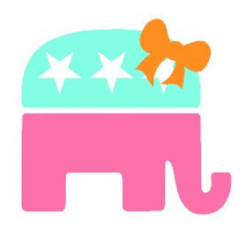 Girly Republican Elephant  Vinyl Car Decal