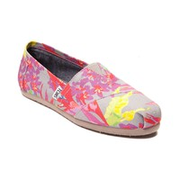 Womens TOMS Classic Floral Slip-On Casual Shoe
