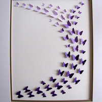 11x14 Ombre 3D Butterfly Art. Similar Purple Shades or YOU CHOOSE Colour. Made to Order