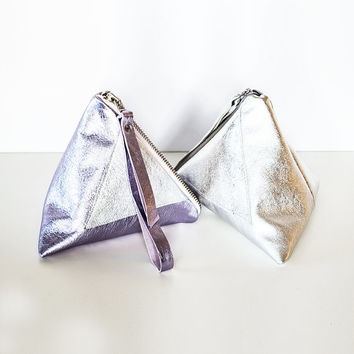 Metallic Pyramid Leather Clutch // Silver Lilac Holographic Triangle Wristlet // Valentine Day's // Wedding Bag // Bridesmaid