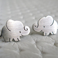 Elephant Earrings Studs- Sterling Silver