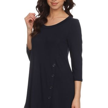 Women's Navy Blue Tunic Top Asymmetric Hem Navy Blue Shirt: S/M/L/1XL