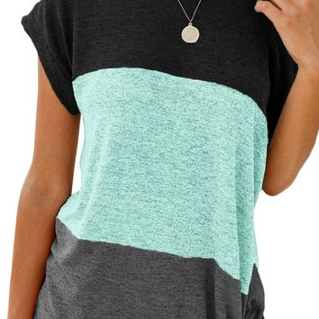 Casual Green Color Block Twist Short Sleeve Tee