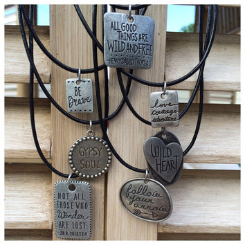 Gypsy Affirmation Dog Tag Necklaces/ Gypsy Soul/ Not All Those Who Wander Are Lost/ Wild Heart Necklace