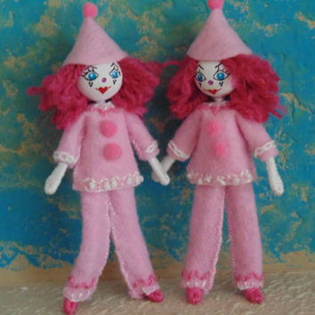 Pink Clown Miniature Art Doll