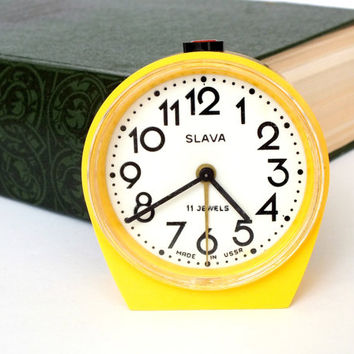 Cute Yellow Alarm Clock 11 Jewels. Soviet Vintage Alarm Clock SLAVA. Mechanical Alarm Clock Home Decor. Gift For Him. Gift For Her.