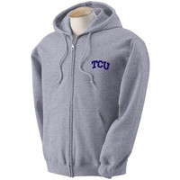 Texas Christian Horned Frogs NCAA Solid Arch Logo Grey FullZip Hooded Fleece (2X Large)