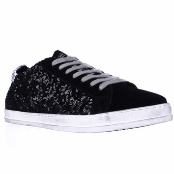 Steve Madden Florence Low Top Sequins Fashion Sneakers, Black Multi, 7.5 US