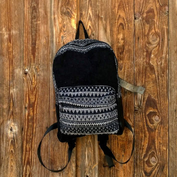 Bohemian Corduroy Backpack, Ethnic Tribal Rucksack, hipster backpack, Boho school bag, Handmade Laptop Bag, Unisex Travel Backpack Purse.