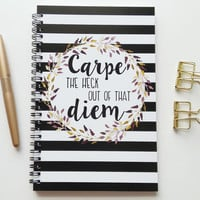 Writing journal, spiral notebook, bullet journal, cute sketchbook, black white stripe, blank lined grid - Carpe the heck out of that diem