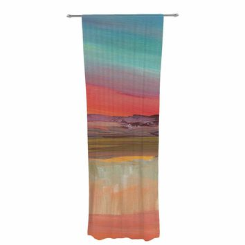 "Viviana Gonzalez ""Improvisation 39"" Coral Multicolor Painting Decorative Sheer Curtain"