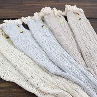 Knee High Boot Socks, Boot Socks, Button Boot Socks, Ivory Boot Socks, Lacy Boot Cuffs, Lace Boot Socks, Long Socks, Over the Knee Socks
