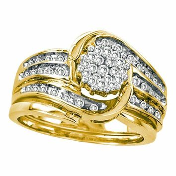 14kt Yellow Gold Women's Round Diamond Cluster Bridal Wedding Engagement Ring Band Set 1-2 Cttw - FREE Shipping (US/CAN)