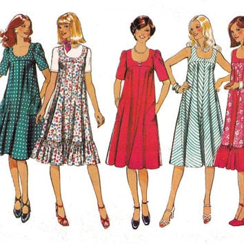 1970s Tent Dress Vintage sewing pattern Style 1876 Size 12 Bust 34 inches UNCUT FF