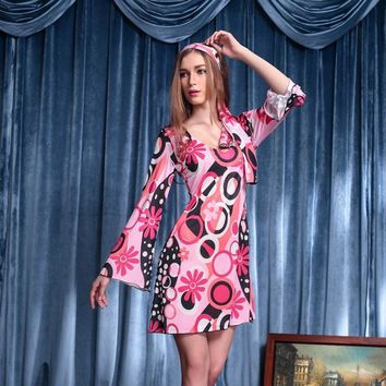 70's Vintage Dress Hippie Style Flare Sleeve Pink Floral Dress Retro Party Vestidos Halloween Costumes for Women