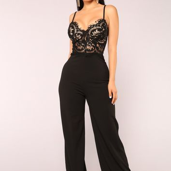 Roof Top Date Lace Jumpsuit - Black