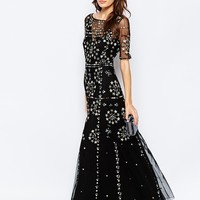 French Connection Embroidered Evie Sparkle Maxi Dress