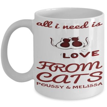 Cat Mug Personalized Holiday Valentines Day Gift For Kitten Lovers Cocoa Cookie Cup
