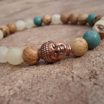 Buddha Bracelet with Italian White Onyx, Yellow Jasper and Turquoise Howlite, For Him
