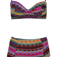 Multicolour Embroidered Aztec Bikini - Swimwear - Clothing - Topshop USA