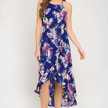 Summer Day Dreams Floral High Low Dress - Blue