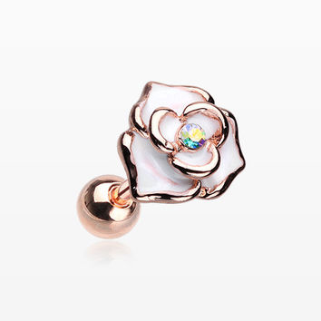 Rose Gold White Rose Sparkle Cartilage Tragus Earring