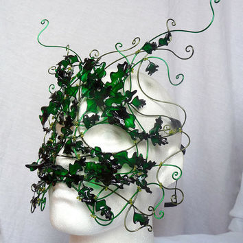 Green man, men's mask. Handmade