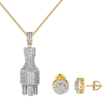 """Switch Plug Iced Out Pendant Earrings Combo Set Simulated Diamonds 24"""" Chain"""