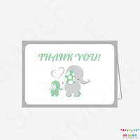 Mint Thank You Cards, Elephant Thank You Cards, Mint Elephant Baby Shower, Mint and Grey, Baby Shower Thank Yous, Printable Download, ELLMG