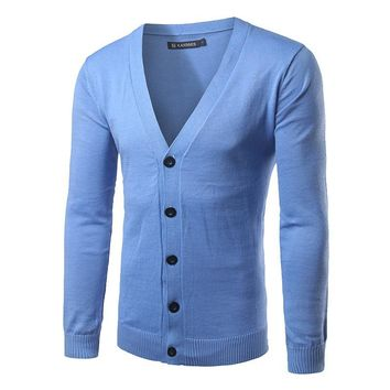 Single Breasted Men Sweater Brand Clothing V neck Spring Cardigan Men Solid Color Sweater Men Slim Fit Casual Pull Homme Marque