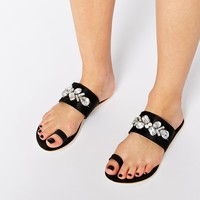 ASOS FARICA Leather Embellished Mule Sandals