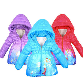 2015 Winter Girls Coat Cinderella Girl Children Outerwear Coat Cotton Paddad Kids Clothing fashion Jackets princess wear
