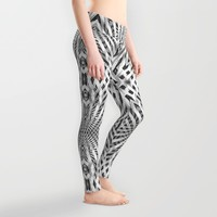 White Geometric Weave Leggings by Webgrrl