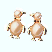 Basket Hill, Penguin w/ Simulated Pearl and Gold Tone Girls Post Earrings