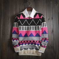 Mens Winter Slim Fit Soft Knitwear Aztec Sweater