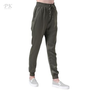 PK Army Green Joggers Women Pants Fitness Linen Harem Pants Sporty Green Femme Sweatpants Women Leggings Pantalons Mujer Femme