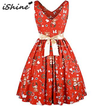 iShine Women Vintage Christmas Dress 1950s Hepburn Sleeveless V Neck Pin Up Rockabilly Party Dresses Female Retro Swing Vestidos