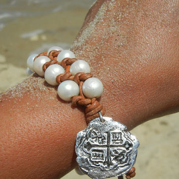 Beach Jewelry Shipwreck Coin Replica Pearl and Leather Bracelet by HappyGoLicky