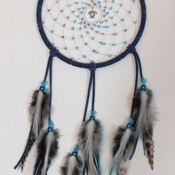Swimming with the Turtles Native American Inspired Dreamcatcher, Blue dreamcatcher, bedroom decor, dormroom decor, wall hanging, wall decor