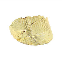 Gold Feather Hair Clip, 24K Gold Plated Hair Clip, Gold Ponytail Holder, Feather Hair Clip, Gold Hair, Wedding Hair Clip, Bridesmaids Gifts