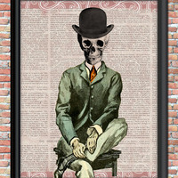 Skeleton Man Art Print Top Hat Business Suit Newspaper Background Home or Office Decor Wall Art Digital Halloween Printable