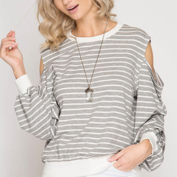 Women's Cold Shoulder Striped Top with Contrasting Hems