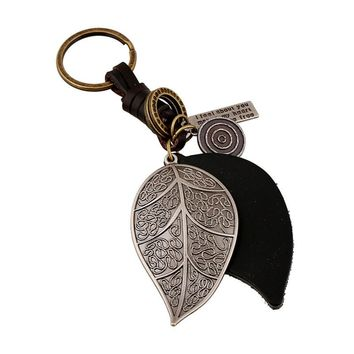 2016 New Style Pure Manual Weaving Retro Big Leaves Design Key Chain Male and Female Genuine Leather Metal Keychain