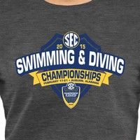 Women's Charcoal SEC Gear 2015 Swimming & Diving Championship Slim Fit T-Shirt