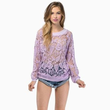 ESBONG Embroidery Lace Crochet Round-neck Long Sleeve See Through Hoodies [8789473671]